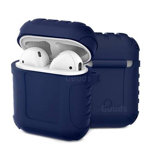 Shockproof Anti-fall Armor Silicone Case for Apple AirPods - Blue