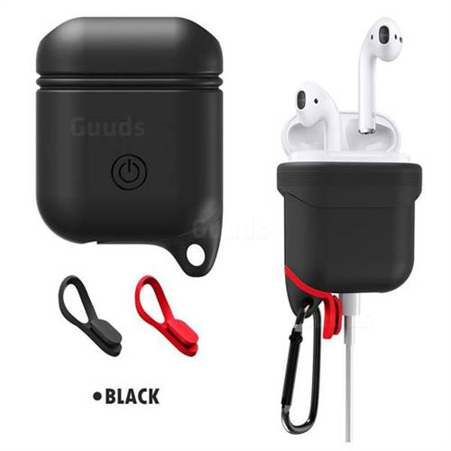Waterproof Anti-fall Silicone Protective Case for Apple AirPods - Black