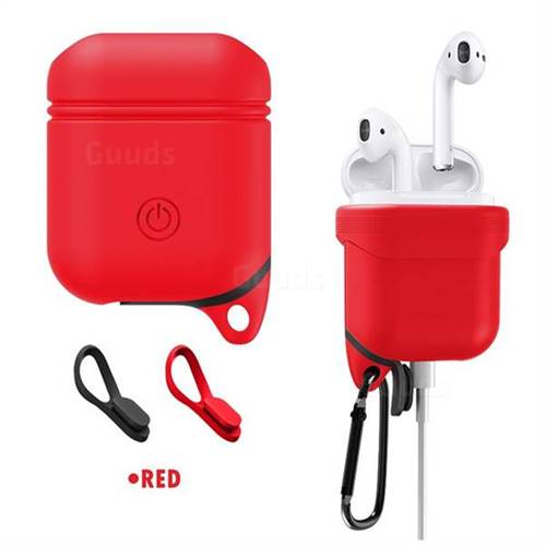 Waterproof Anti-fall Silicone Protective Case for Apple AirPods - Red
