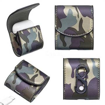 Camouflage Pattern PU Leather Protective Case for Apple AirPods - Forest Green