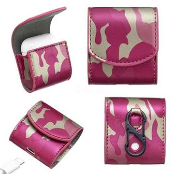 Camouflage Pattern PU Leather Protective Case for Apple AirPods - Rose