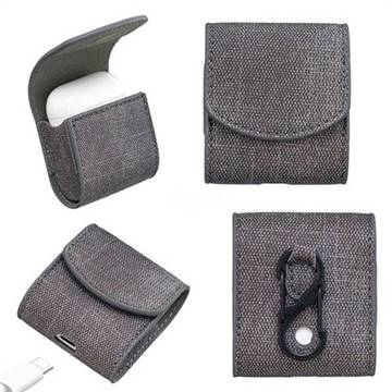 Jeans Cowboy Denim Pattern PU Leather Protective Case for Apple AirPods - Black