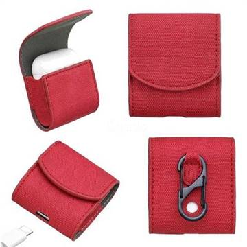 Jeans Cowboy Denim Pattern PU Leather Protective Case for Apple AirPods - Red