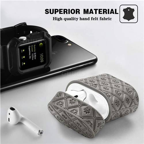 Dog Paw Pattern Leather Pouch Protective Case For Apple Airpods 1