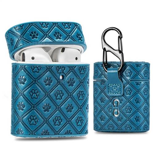 Dog Paw Pattern Leather Pouch Protective Case for Apple AirPods 1 2 - Blue