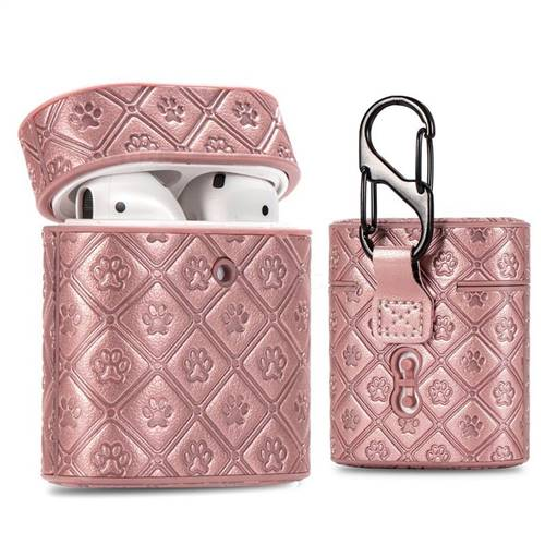 Dog Paw Pattern Leather Pouch Protective Case for Apple AirPods 1 2 - Rose Gold