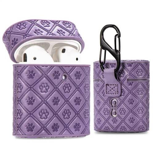 Dog Paw Pattern Leather Pouch Protective Case for Apple AirPods 1 2 - Lavender