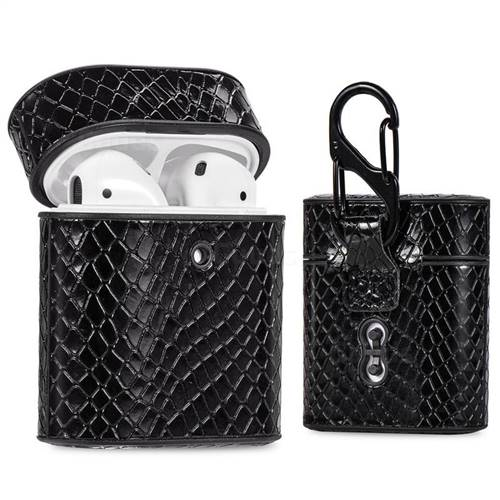 Python Pattern Leather Pouch Protective Case for Apple AirPods 1 2 - Black