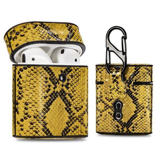 Python Pattern Leather Pouch Protective Case for Apple AirPods 1 2 - Yellow