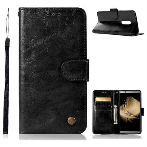Luxury Retro Leather Wallet Case for ZTE Axon 7 - Black