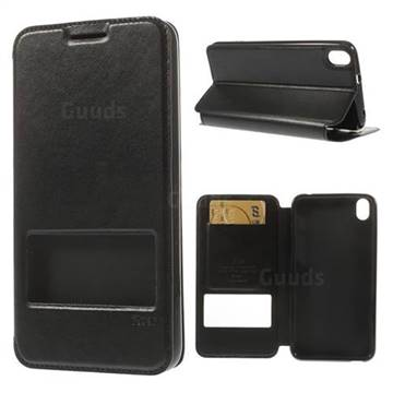 Roar Korea Glossy View Window Leather Cover for HTC Desire 816 D816 - Black