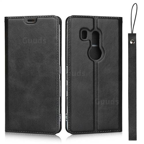 Calf Pattern Magnetic Automatic Suction Leather Wallet Case for FUJITSU Docomo Arrows Be3 F-02L - Black