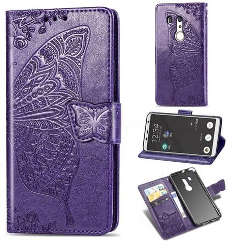 Embossing Mandala Flower Butterfly Leather Wallet Case for FUJITSU Docomo Arrows Be3 F-02L - Dark Purple