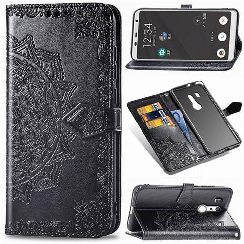 Embossing Imprint Mandala Flower Leather Wallet Case for FUJITSU Docomo Arrows Be3 F-02L - Black