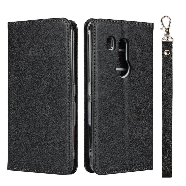 Ultra Slim Magnetic Automatic Suction Silk Lanyard Leather Flip Cover for FUJITSU Docomo Arrows Be3 F-02L - Black