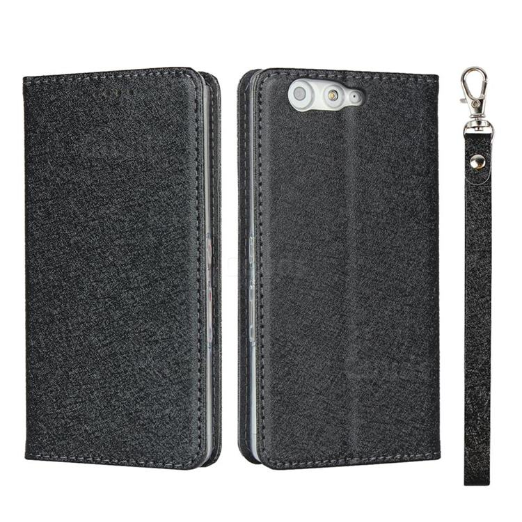 Ultra Slim Magnetic Automatic Suction Silk Lanyard Leather Flip Cover for FUJITSU Arrows Be F-05J - Black