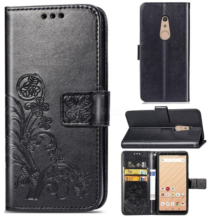 Embossing Imprint Four-Leaf Clover Leather Wallet Case for FUJITSU Docomo Arrows Be4 F-41A - Black