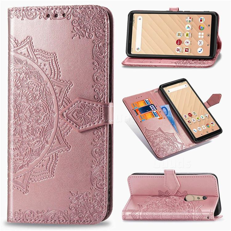 Embossing Imprint Mandala Flower Leather Wallet Case for FUJITSU Docomo Arrows Be4 F-41A - Rose Gold