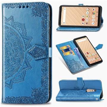 Embossing Imprint Mandala Flower Leather Wallet Case for FUJITSU Docomo Arrows Be4 F-41A - Blue