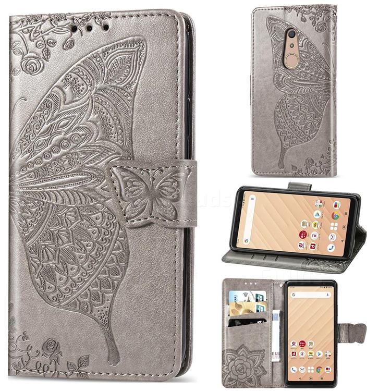 Embossing Mandala Flower Butterfly Leather Wallet Case for FUJITSU Docomo Arrows Be4 F-41A - Gray