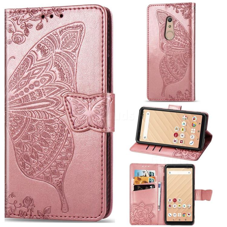 Embossing Mandala Flower Butterfly Leather Wallet Case for FUJITSU Docomo Arrows Be4 F-41A - Rose Gold