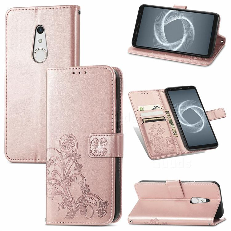 Embossing Imprint Four-Leaf Clover Leather Wallet Case for FUJITSU Docomo Arrows Be4 Plus F-41B - Rose Gold