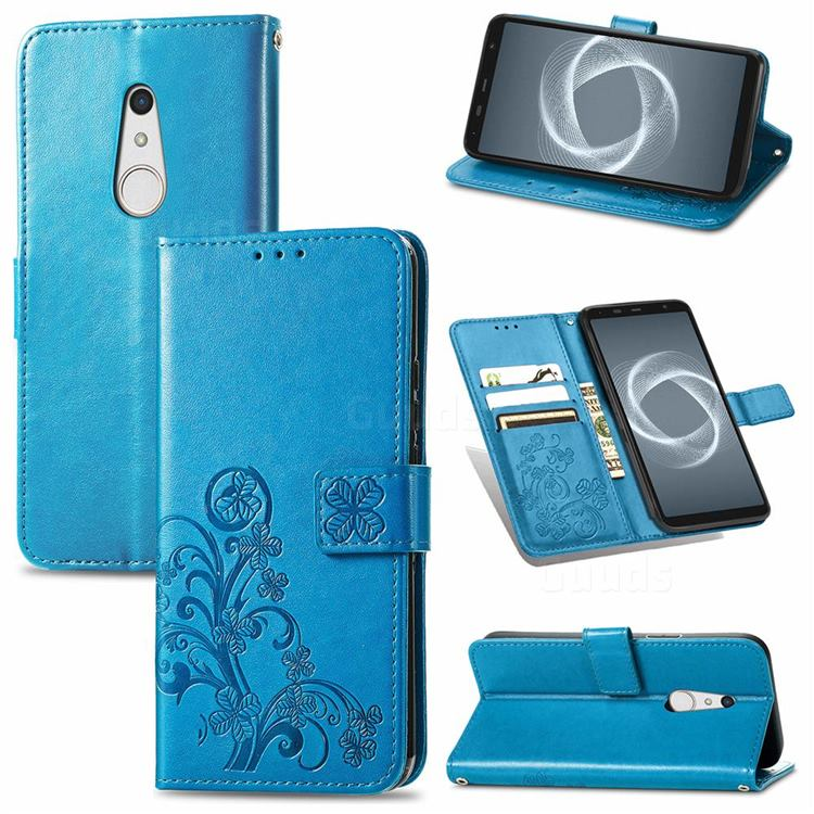 Embossing Imprint Four-Leaf Clover Leather Wallet Case for FUJITSU Docomo Arrows Be4 Plus F-41B - Blue