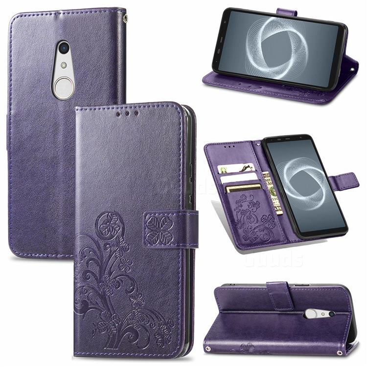 Embossing Imprint Four-Leaf Clover Leather Wallet Case for FUJITSU Docomo Arrows Be4 Plus F-41B - Purple
