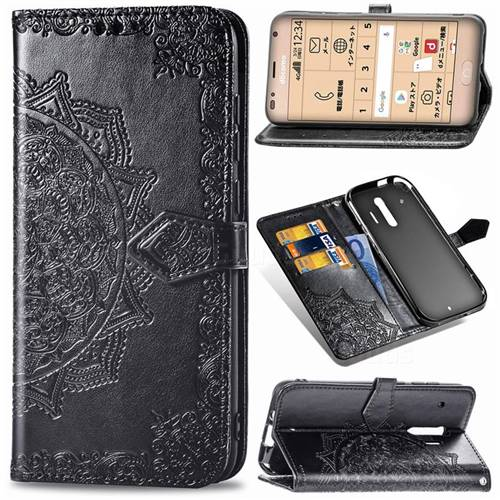 Embossing Imprint Mandala Flower Leather Wallet Case for Docomo Raku-Raku Phone Me(F-01L) - Black
