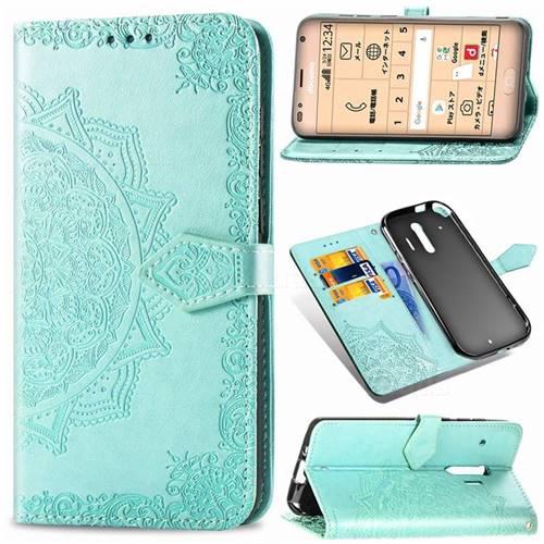 Embossing Imprint Mandala Flower Leather Wallet Case for Docomo Raku-Raku Phone Me(F-01L) - Green