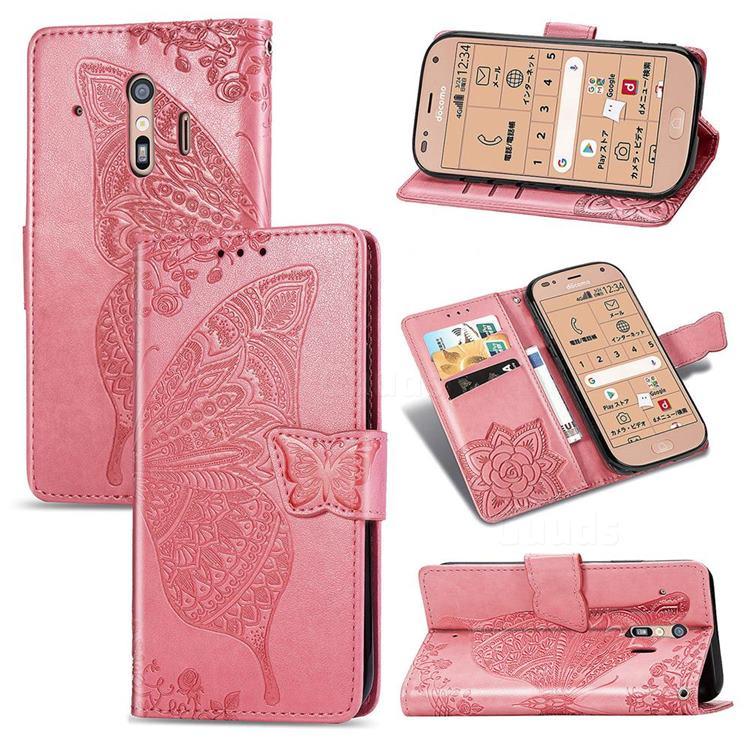 Embossing Mandala Flower Butterfly Leather Wallet Case for Docomo Raku-Raku Phone Me(F-01L) - Pink