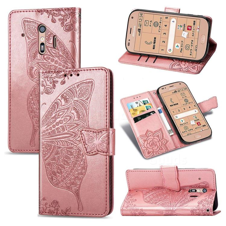 Embossing Mandala Flower Butterfly Leather Wallet Case for Docomo Raku-Raku Phone Me(F-01L) - Rose Gold