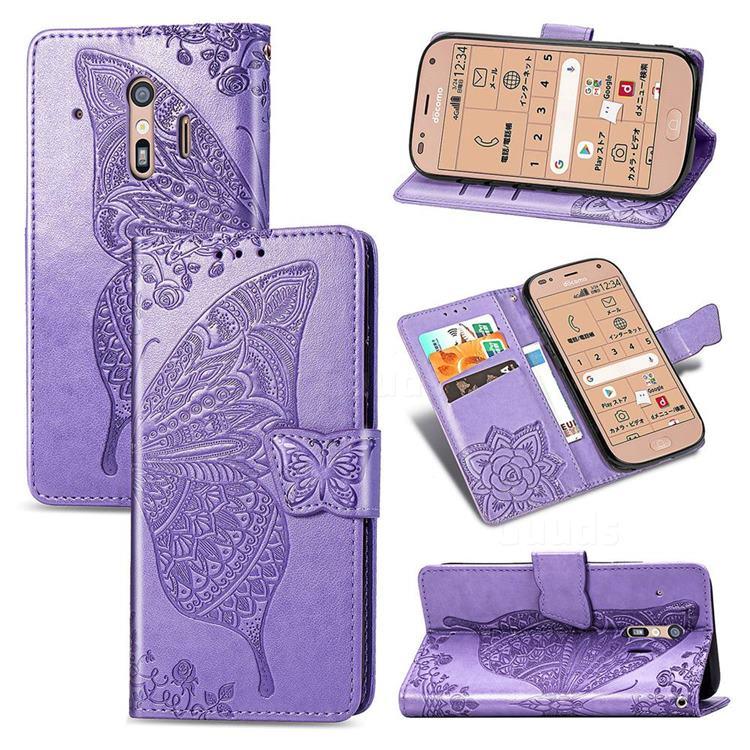 Embossing Mandala Flower Butterfly Leather Wallet Case for Docomo Raku-Raku Phone Me(F-01L) - Light Purple