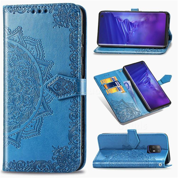 Embossing Imprint Mandala Flower Leather Wallet Case for FUJITSU Docomo Arrows 5G F-51A - Blue