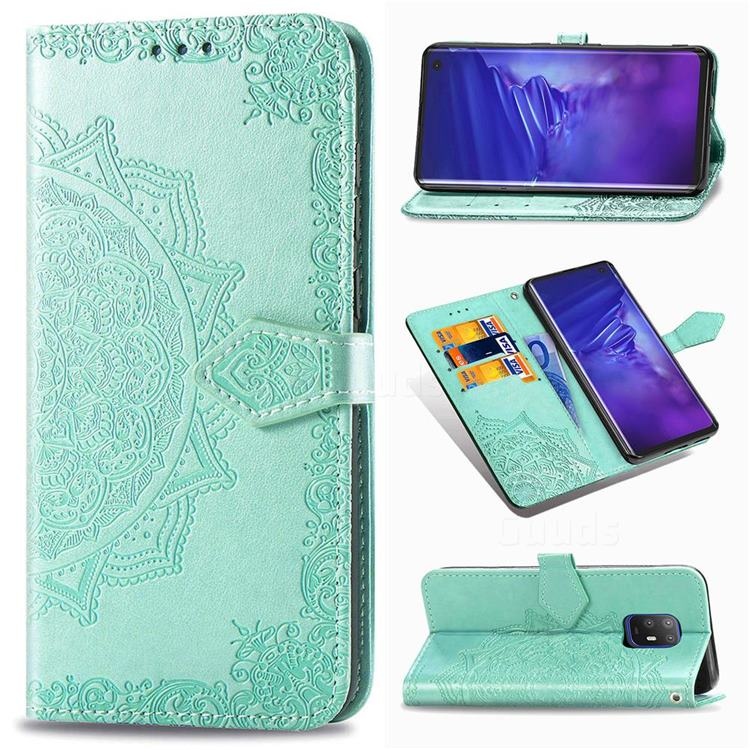 Embossing Imprint Mandala Flower Leather Wallet Case for FUJITSU Docomo Arrows 5G F-51A - Green