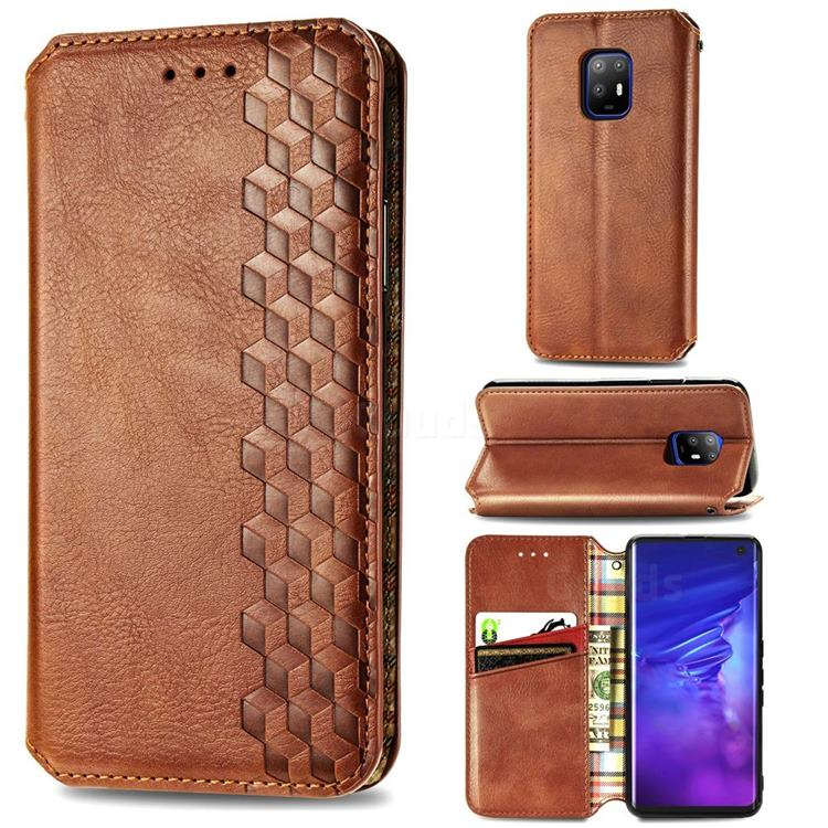 Ultra Slim Fashion Business Card Magnetic Automatic Suction Leather Flip Cover for FUJITSU Docomo Arrows 5G F-51A - Brown
