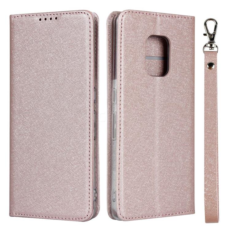 Ultra Slim Magnetic Automatic Suction Silk Lanyard Leather Flip Cover for FUJITSU Docomo Arrows 5G F-51A - Rose Gold
