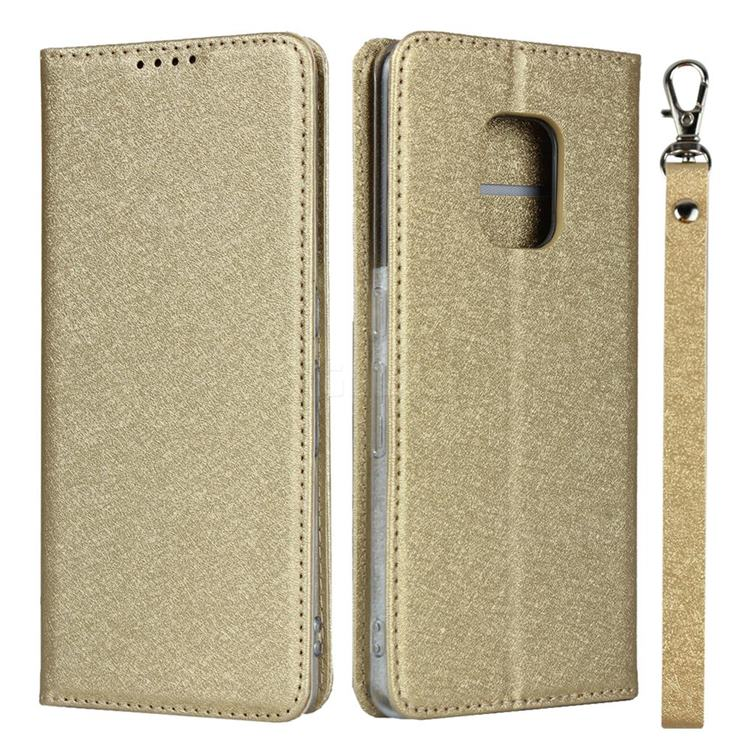 Ultra Slim Magnetic Automatic Suction Silk Lanyard Leather Flip Cover for FUJITSU Docomo Arrows 5G F-51A - Golden