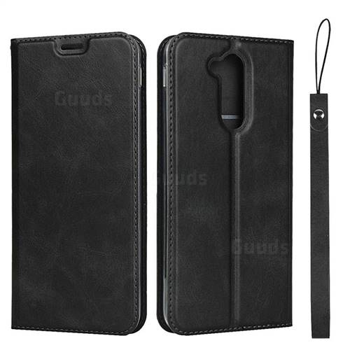Calf Pattern Magnetic Automatic Suction Leather Wallet Case for Docomo LG style2 L-01L (6.0 inch) - Black