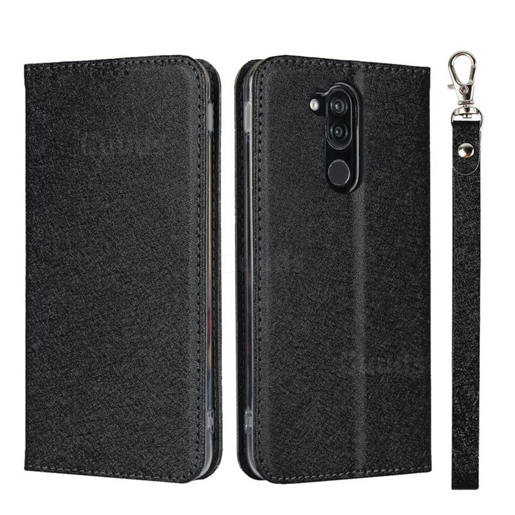 Ultra Slim Magnetic Automatic Suction Silk Lanyard Leather Flip Cover for Docomo LG style2 L-01L (6.0 inch) - Black
