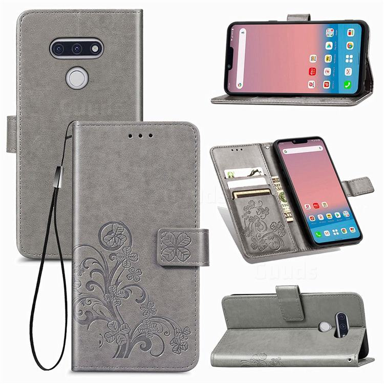 Embossing Imprint Four-Leaf Clover Leather Wallet Case for LG style3 L-41A (Docomo) - Grey
