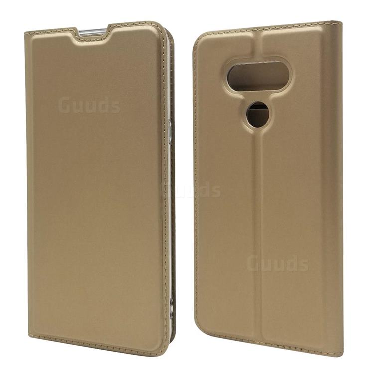 Ultra Slim Card Magnetic Automatic Suction Leather Wallet Case for LG style3 L-41A (Docomo) - Champagne