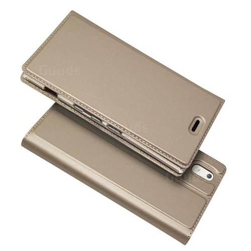 Ultra Slim Card Magnetic Automatic Suction Leather Wallet Case for Docomo  Mono MO-01K - Champagne