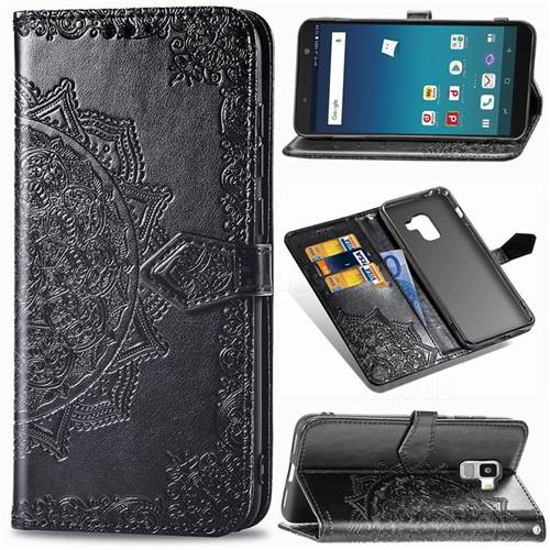 Embossing Imprint Mandala Flower Leather Wallet Case for Docomo Galaxy Feel2 SC-02L - Black