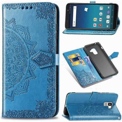 Embossing Imprint Mandala Flower Leather Wallet Case for Docomo Galaxy Feel2 SC-02L - Blue