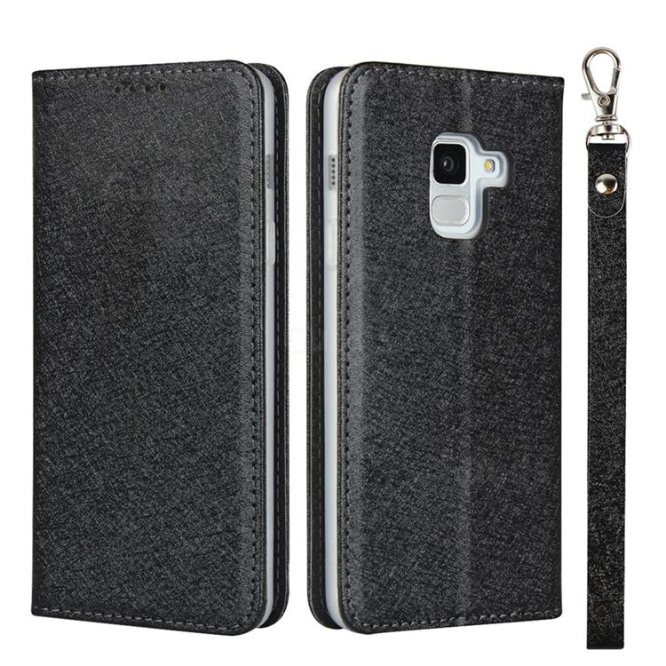 Ultra Slim Magnetic Automatic Suction Silk Lanyard Leather Flip Cover for Docomo Galaxy Feel2 SC-02L - Black
