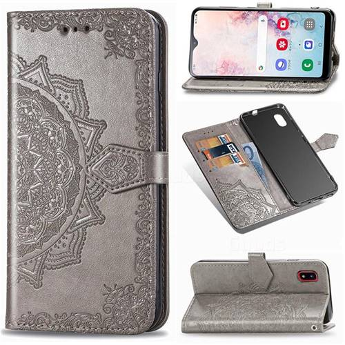 Embossing Imprint Mandala Flower Leather Wallet Case for Docomo Galaxy A20 (Japanese version, SC-02M, UQ) - Gray