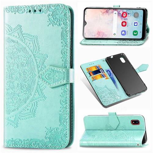 Embossing Imprint Mandala Flower Leather Wallet Case for Docomo Galaxy A20 (Japanese version, SC-02M, UQ) - Green