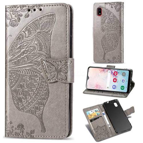 Embossing Mandala Flower Butterfly Leather Wallet Case for Docomo Galaxy A20 (Japanese version, SC-02M, UQ) - Gray