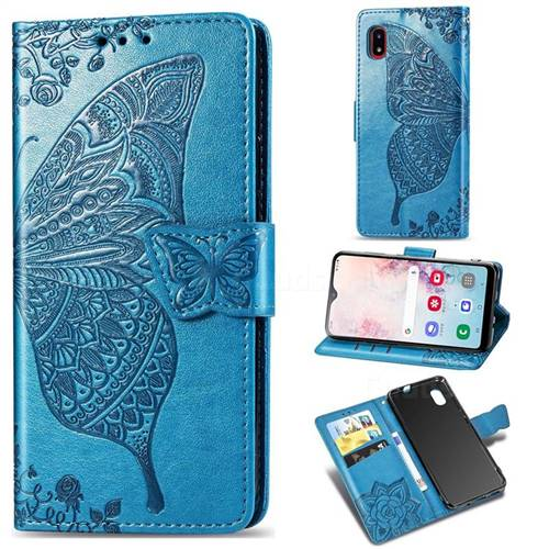 Embossing Mandala Flower Butterfly Leather Wallet Case for Docomo Galaxy A20 (Japanese version, SC-02M, UQ) - Blue